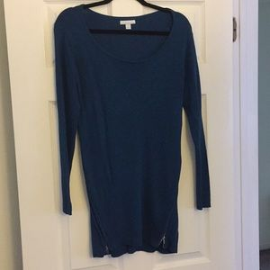 New York & Company teal tunic boat neck sweater